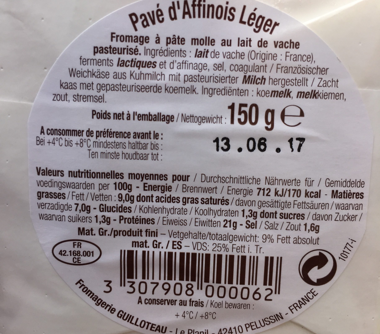 150G Pave Affinois Leger 9% - Ingredients - fr