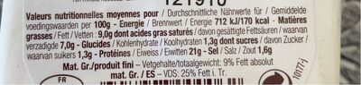 150G Pave Affinois Leger 9% - Nutrition facts - fr