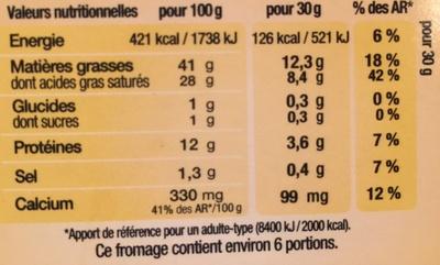 Bleu Doux & Onctueux - Nutrition facts - fr