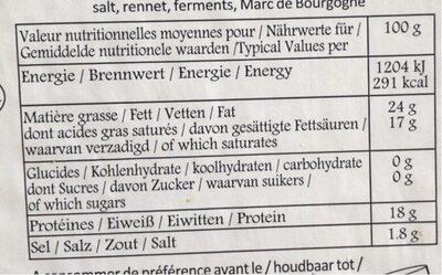Berthaut Époisses - Informations nutritionnelles - fr