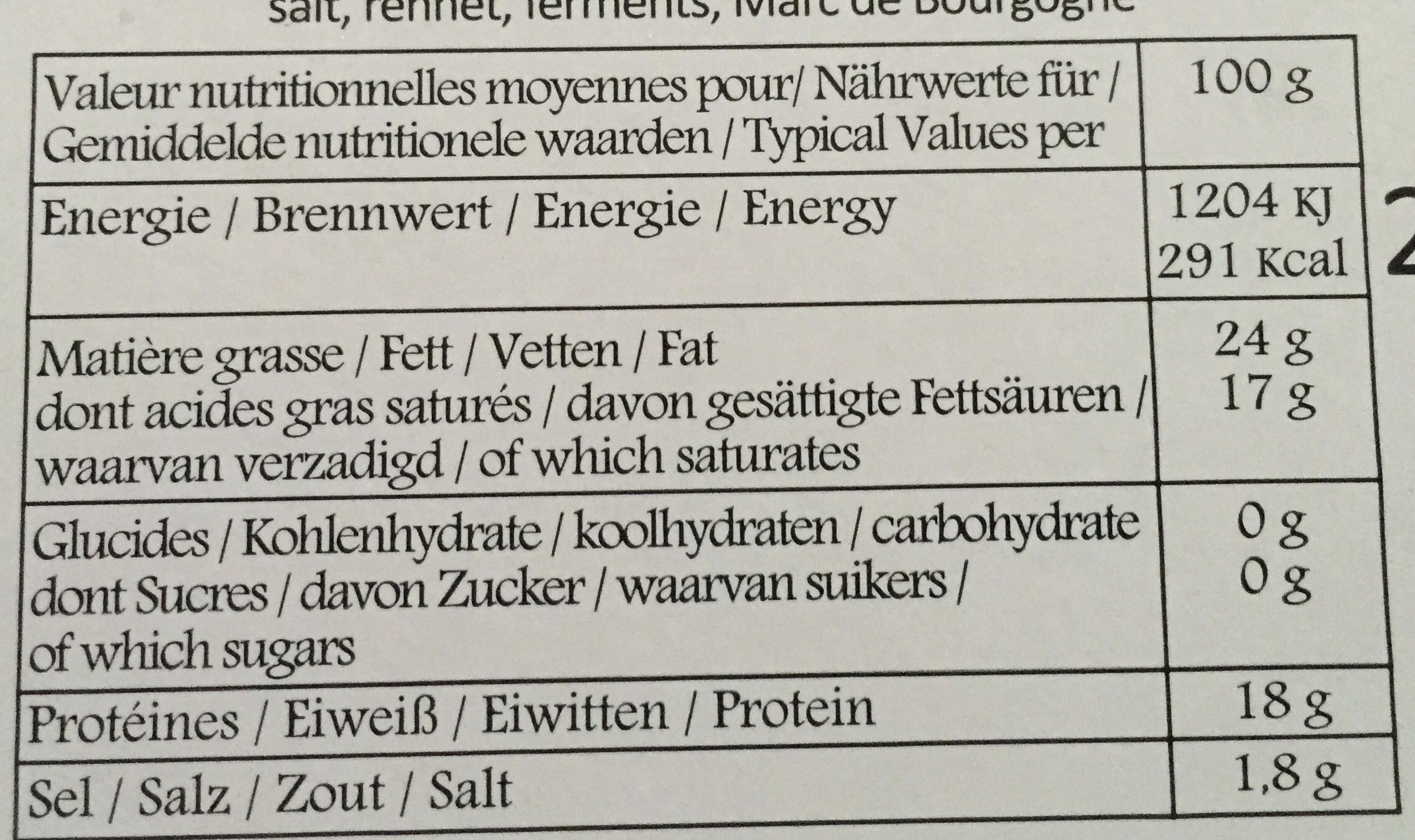 Époisses - Nutrition facts - fr