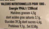 Ravioli 4 Fromages - Valori nutrizionali - fr