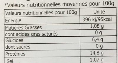 Moules décoquillées Cuites - Informations nutritionnelles