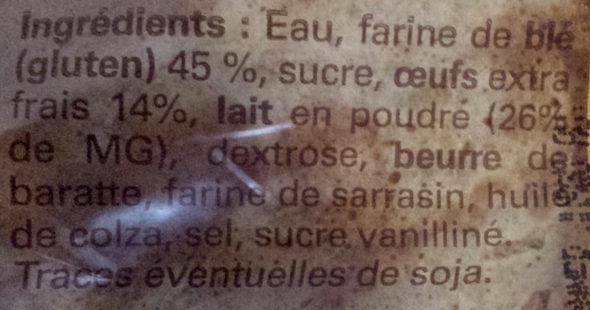 12 Crêpes Bretonnes au Froment Faites à la Main - Ingredients