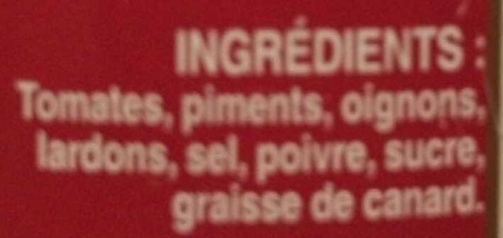 Piperade gourmande avec lardons - Ingrediënten - fr