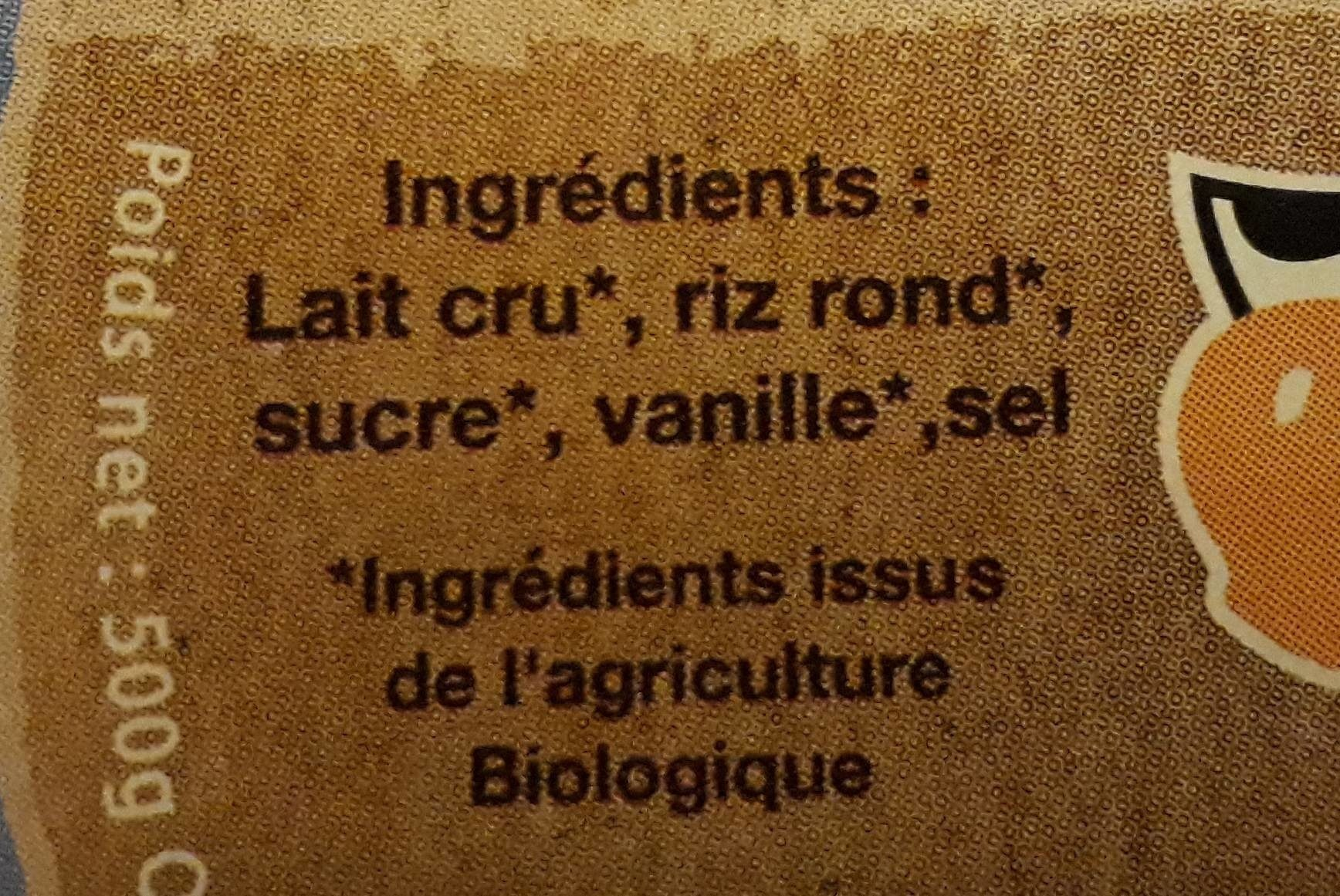 Riz au lait nature à l'ancienne - Ingredients - fr