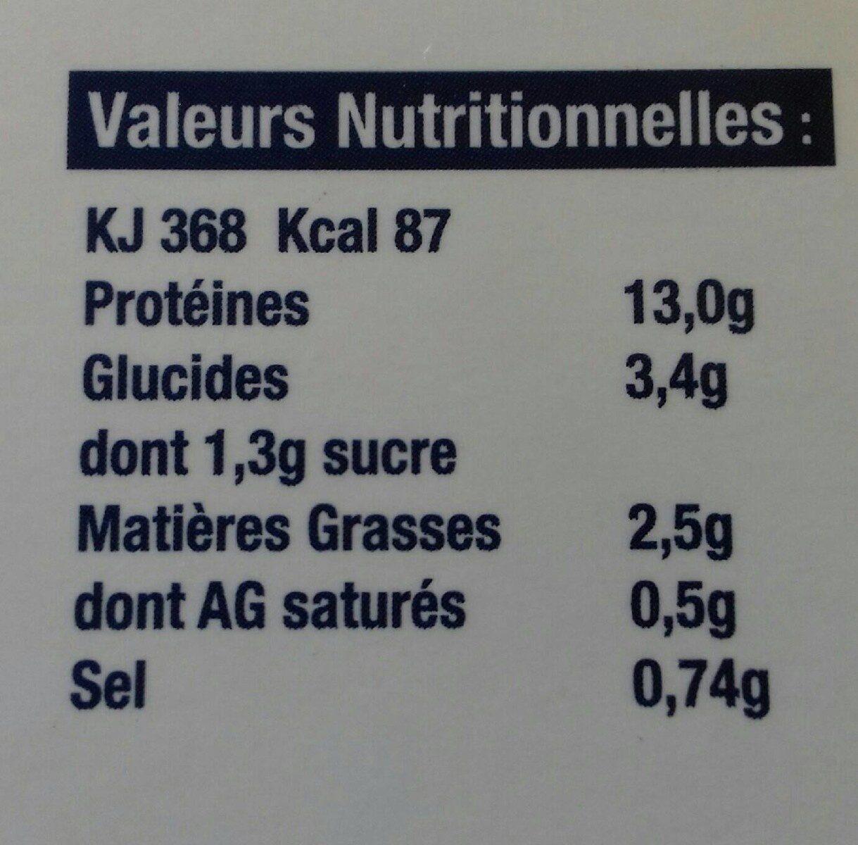 Thon à l'Armoricaine - Informations nutritionnelles - fr