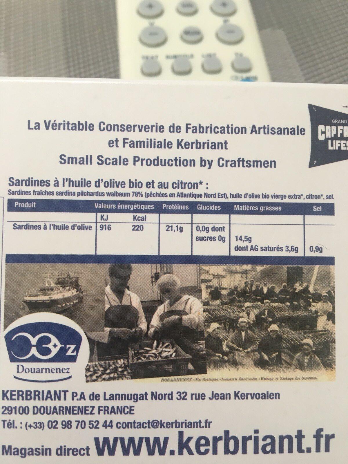 Sardines a L'huile D'olive Bio Au Citron - Ingredients - fr
