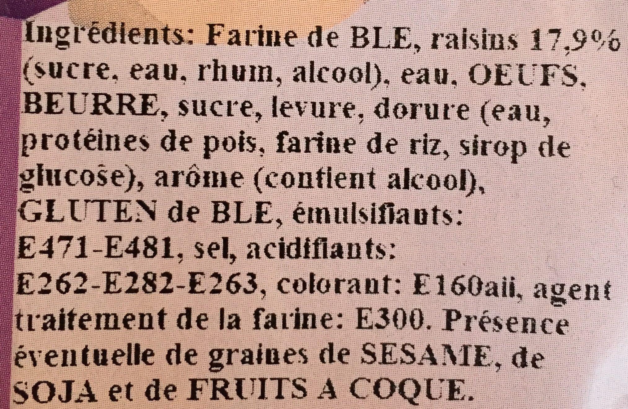 Coquille de Noël Raisin - Ingrediënten
