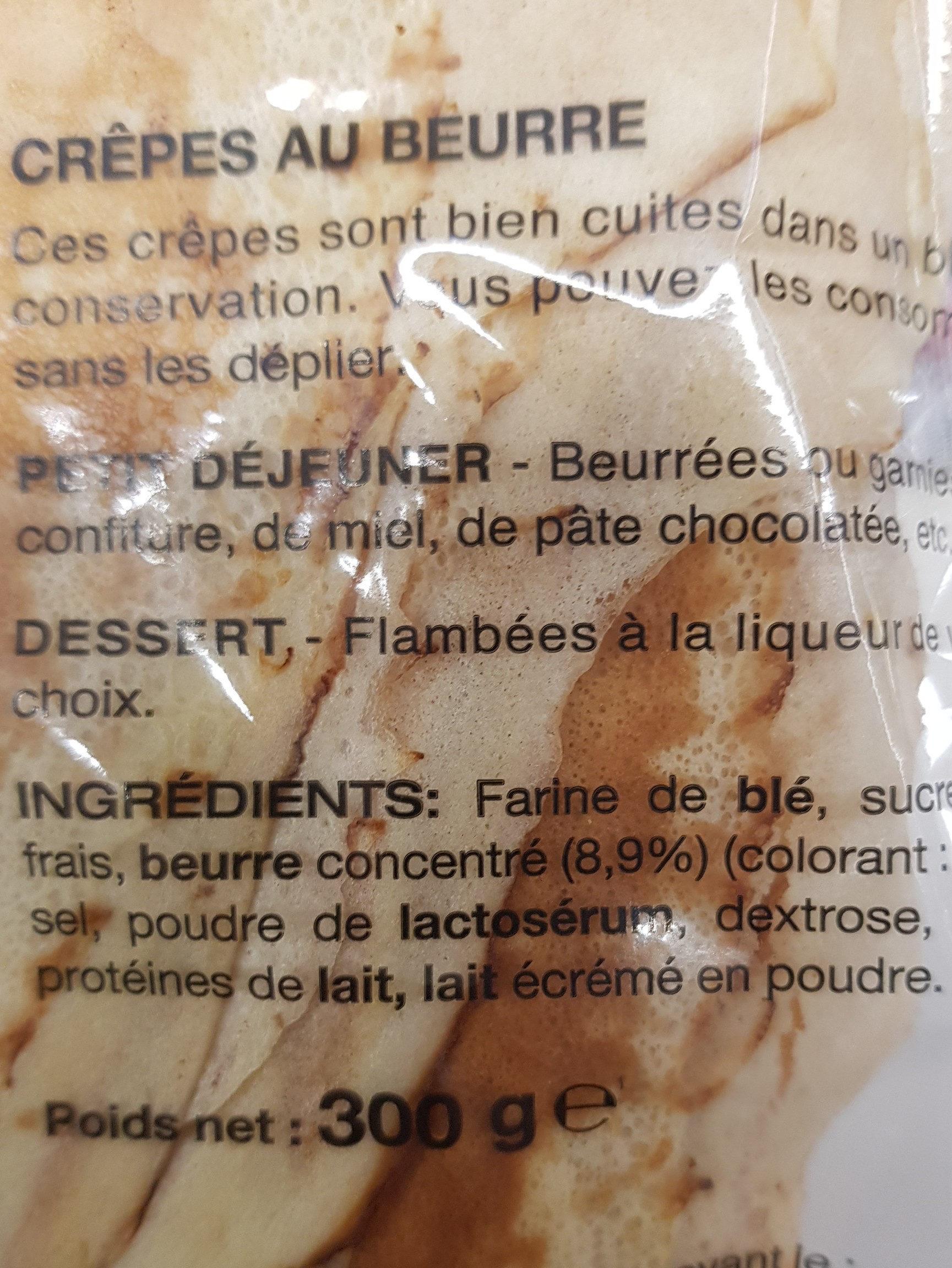 Crêpes Bretonnes Pur Beurre X12 (300g) - Ingrédients - fr