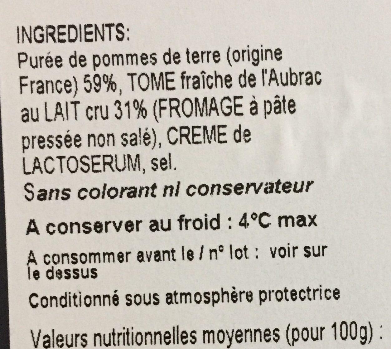 Aligot de l'Aubrac Magne - Ingredients