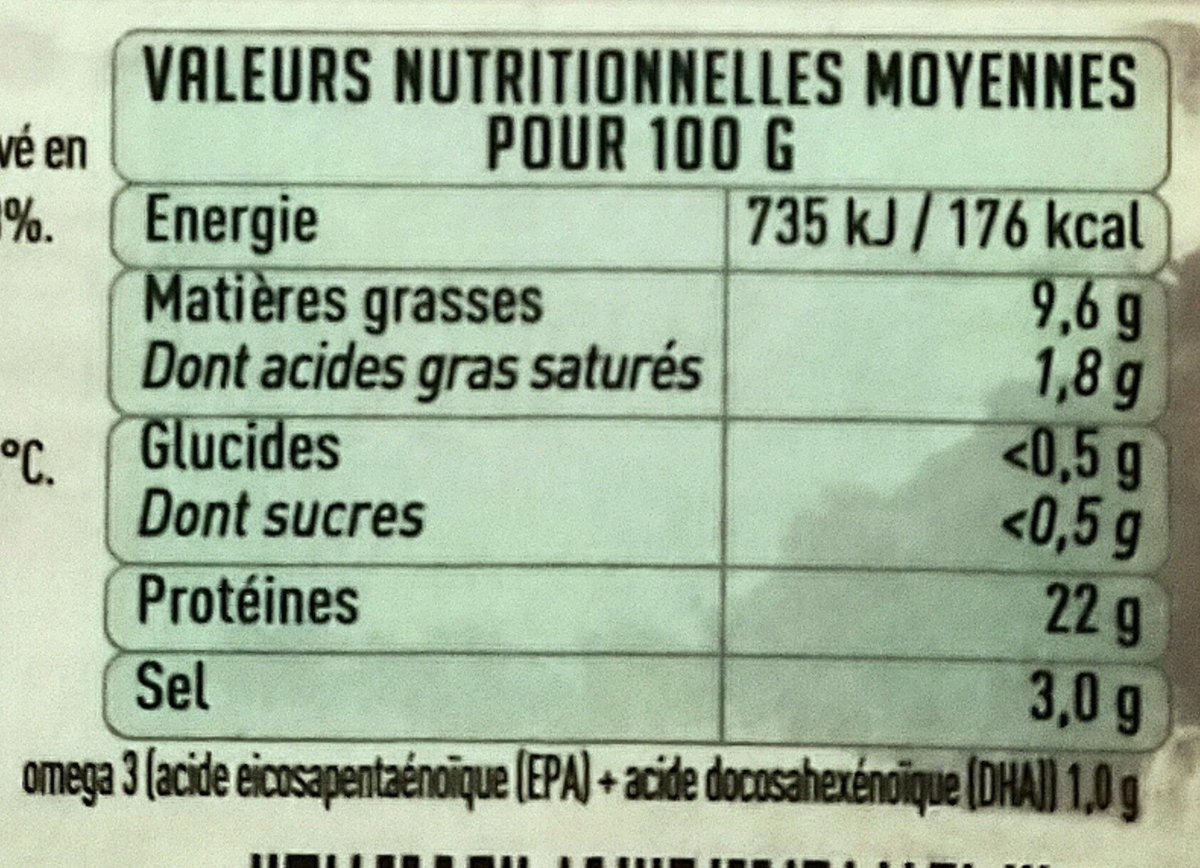 Bio pure origine saumon fumé - Nutrition facts
