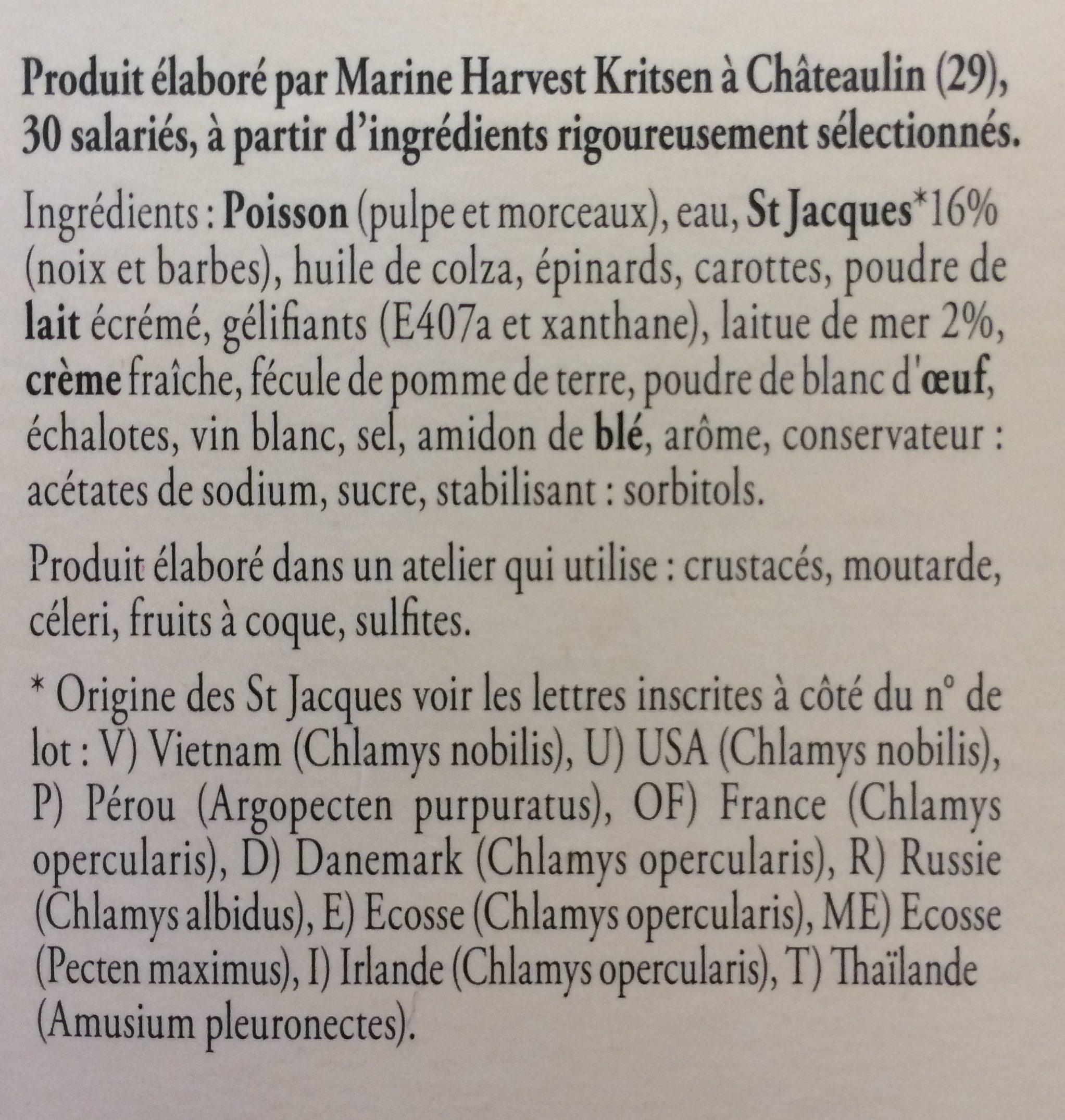 Terrine de St Jacques a la laitue de mer KRITSEN, 2 tranches - Ingredients