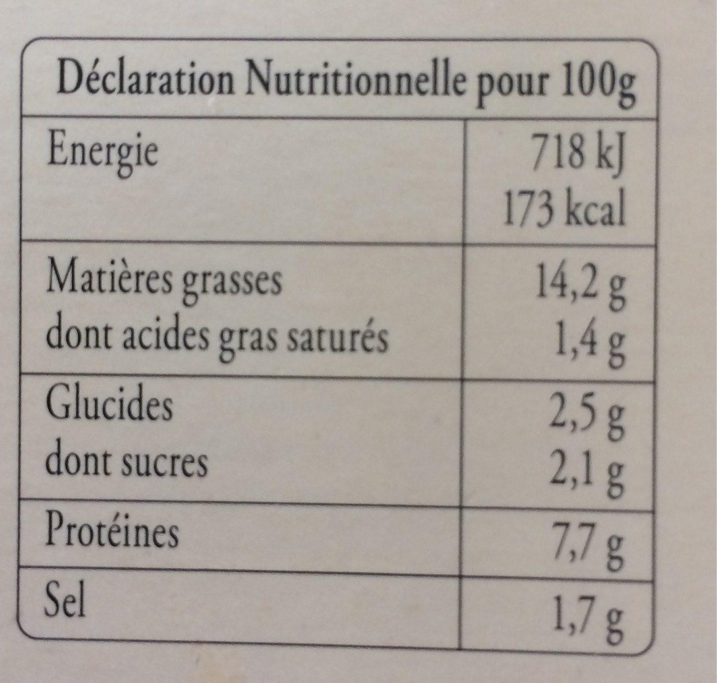 Terrine de St Jacques a la laitue de mer KRITSEN, 2 tranches - Nutrition facts