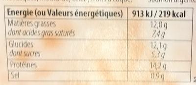 Apéri' Clafoutis au Saumon & Parmesan - Nutrition facts - fr