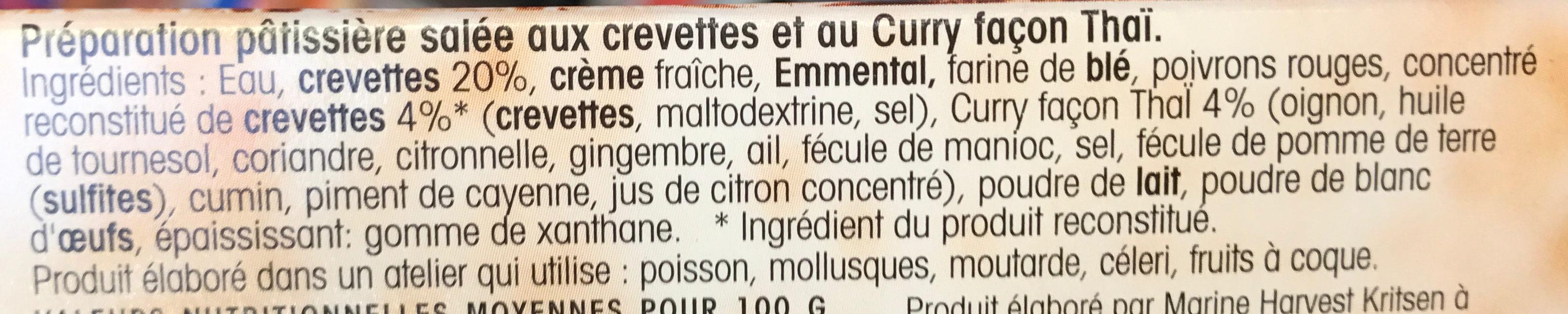 Apéri' Clafoutis aux crevettes & curry Thaï - Ingredients - fr