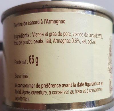 Terrine de canard à l'armagnac - Ingrédients - fr
