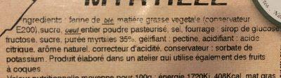 Tarte myrtille - Ingrédients - fr