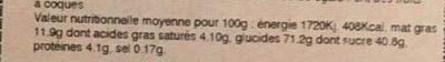 Tarte myrtille - Informations nutritionnelles - fr