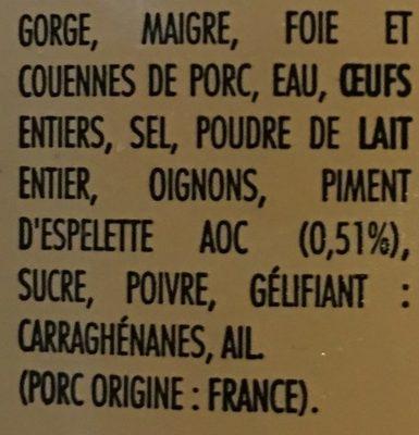 Pâte au piment d espelette - Ingrédients - fr