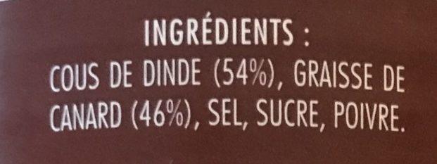 Cous de dinde confits à la graisse de canard - Ingrédients - fr