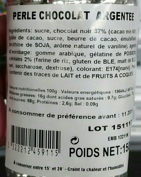 Perles Chocolat Argentées - Ingrédients