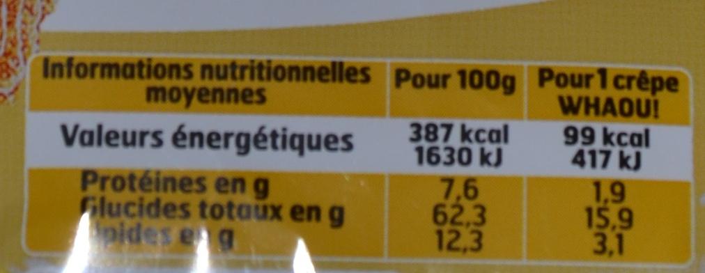 Crêpes au sucre Whaou! - Nutrition facts