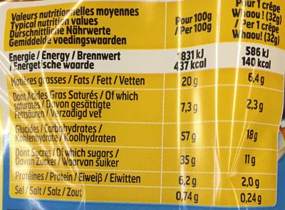 8 Crêpes Choco-Lait - Informations nutritionnelles