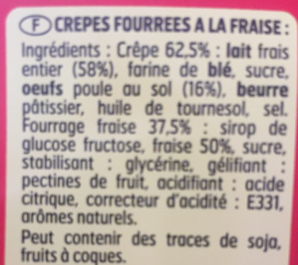 Crepes fraise - Ingredients