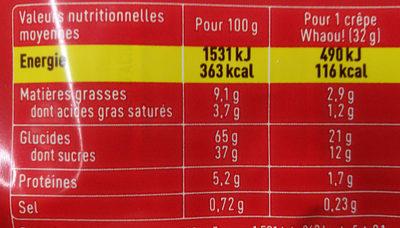 Whaou! Fraise - Informations nutritionnelles