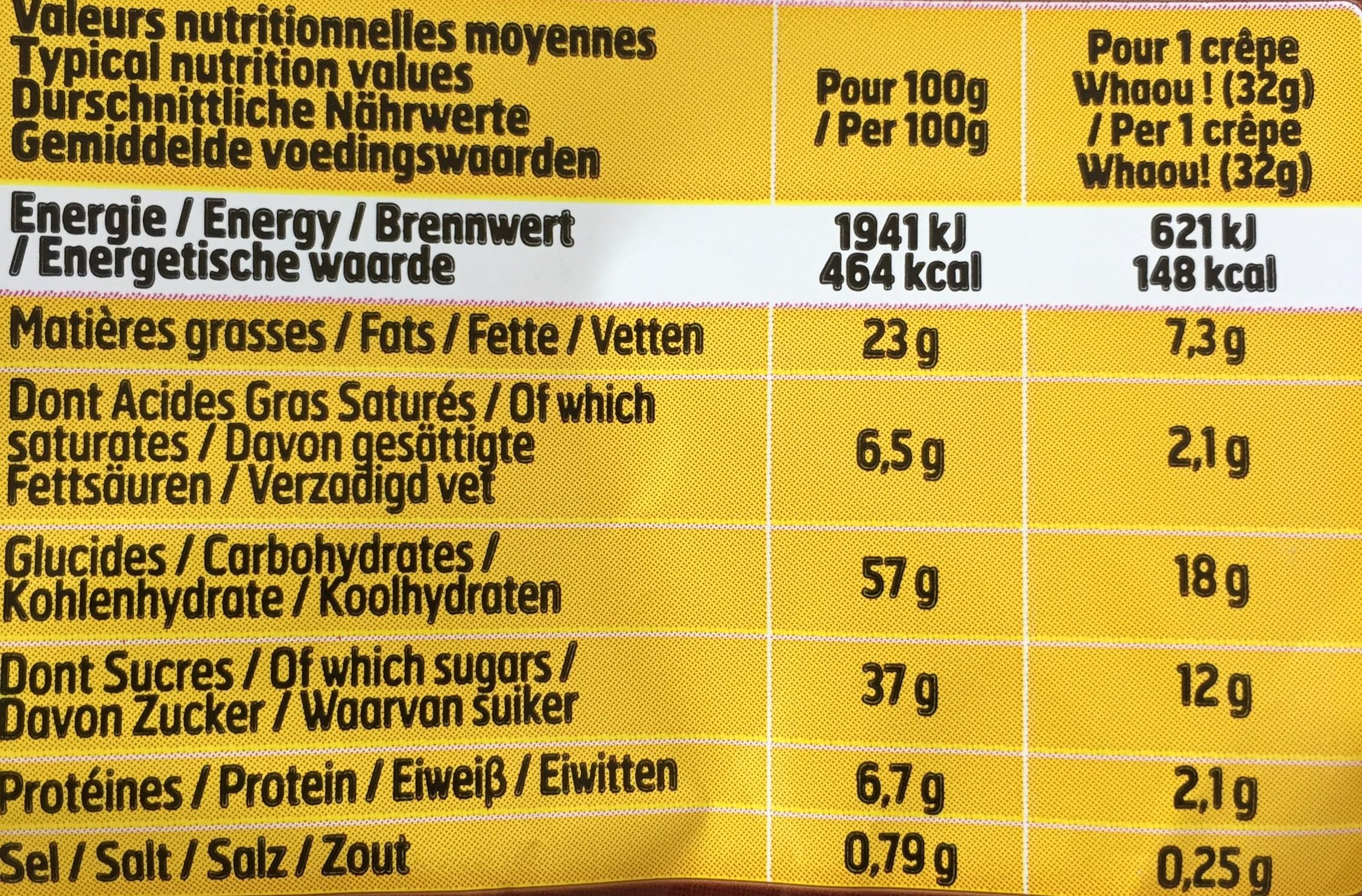 15 Crêpes Chocolat WHAOU - Nutrition facts