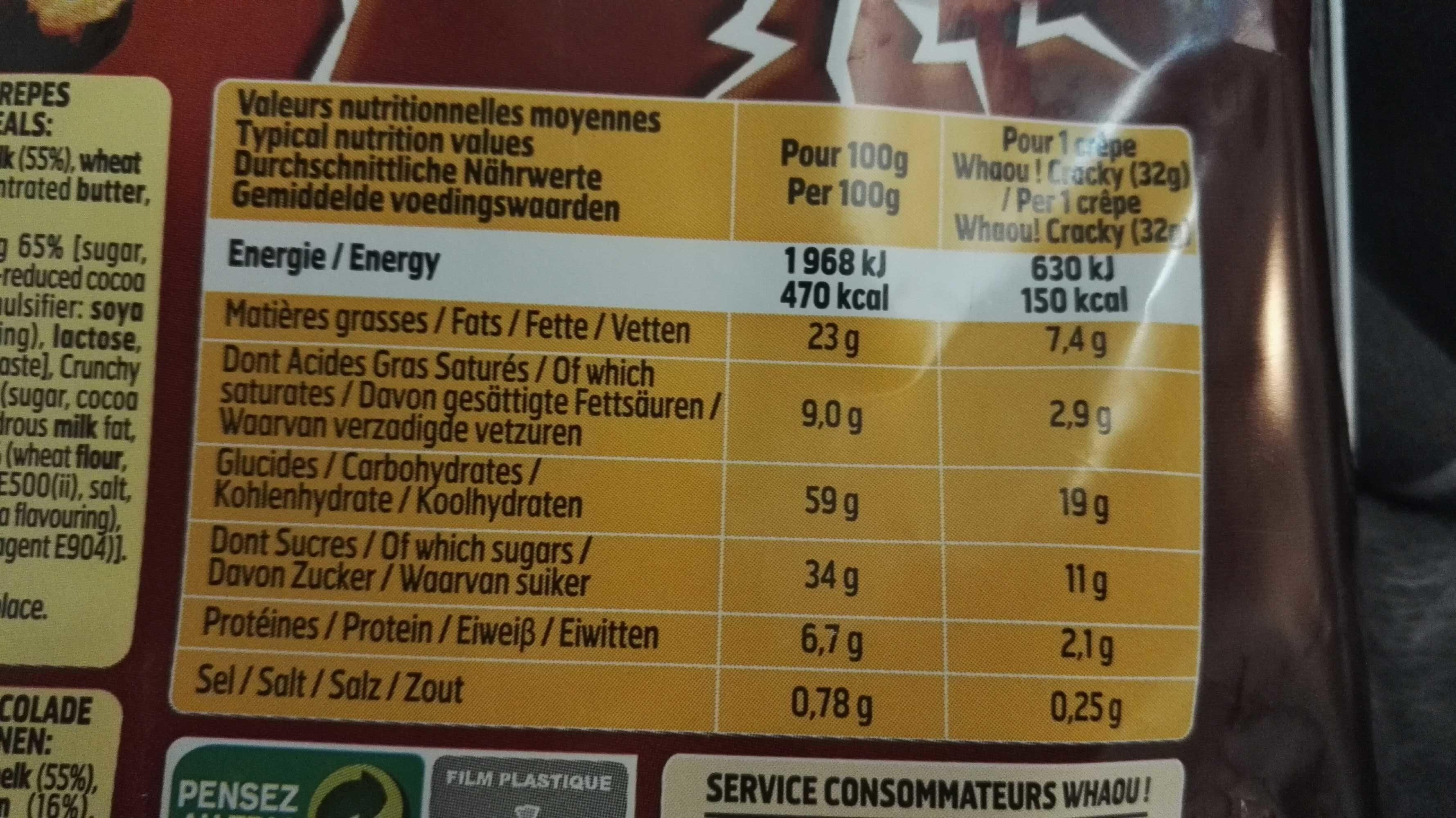 Cracky crêpes - Informations nutritionnelles