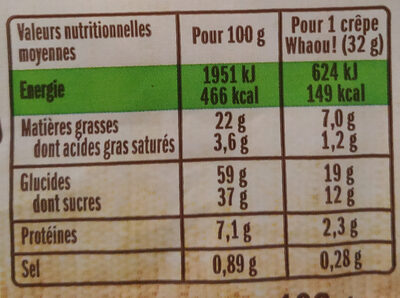 Whaou le Bio - Nutrition facts