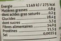 Haricots azuki - Voedingswaarden - en