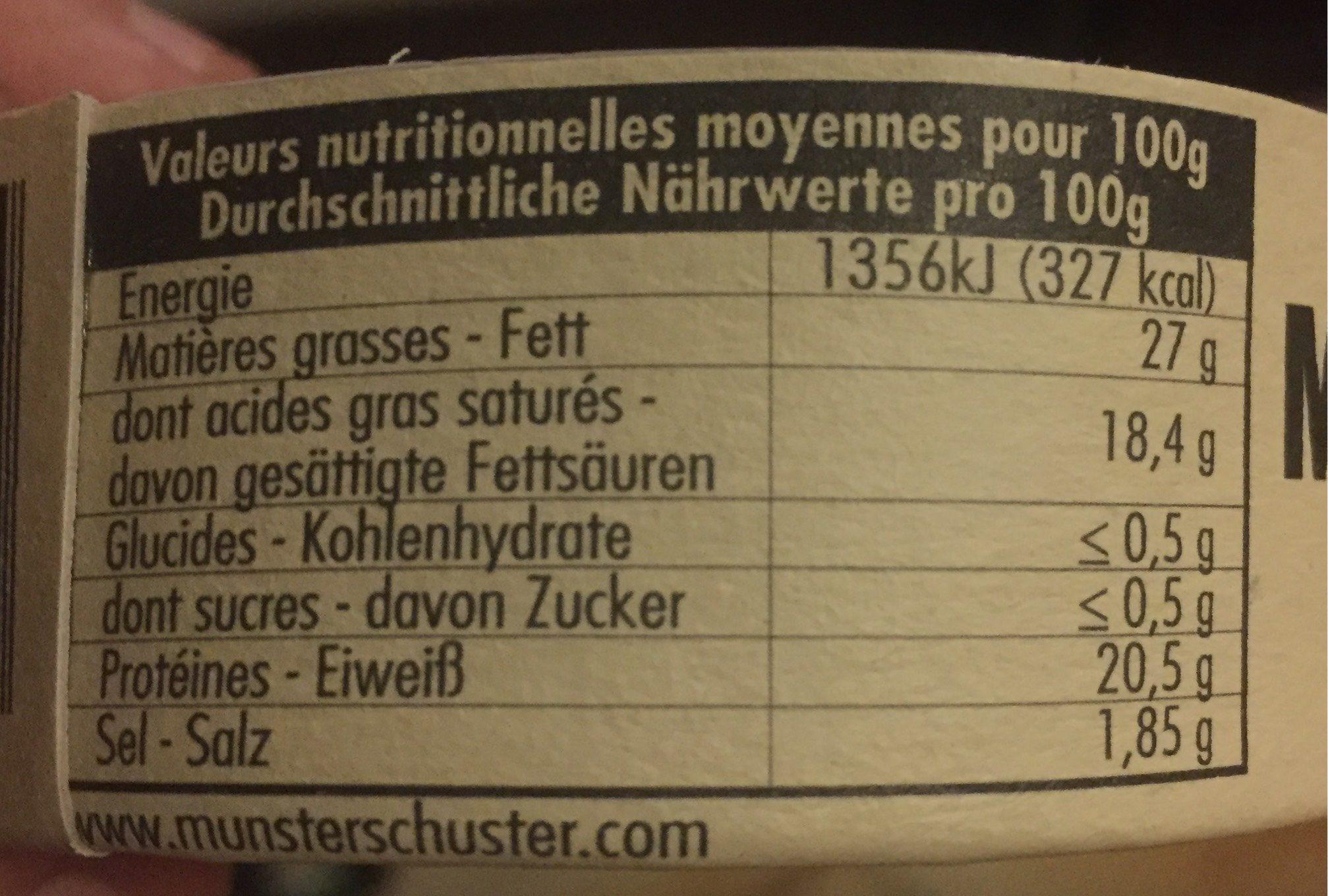 Petit munster - Informations nutritionnelles - fr