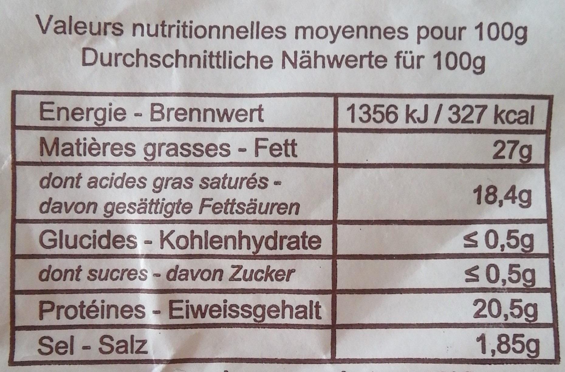 Le Vallon, Artisan Affineur depuis 1889 - Nutrition facts