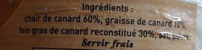Rillettes Pur Canard au Foie de Canard - Ingrédients - fr