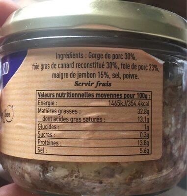 Terrine au foie de canard - Informations nutritionnelles