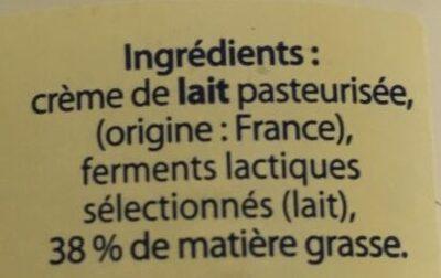Creme fraiche epaisse - Ingredients