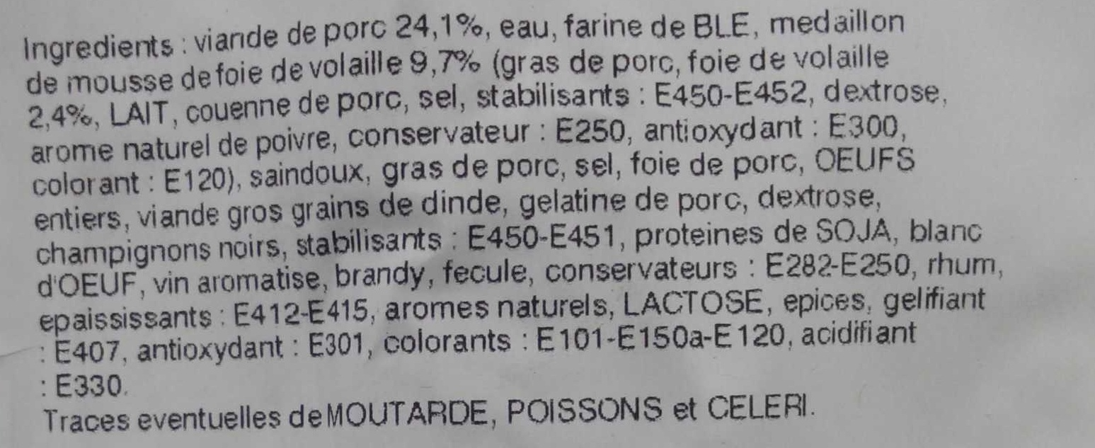 Pâté croûte richelieu - Ingredients - fr
