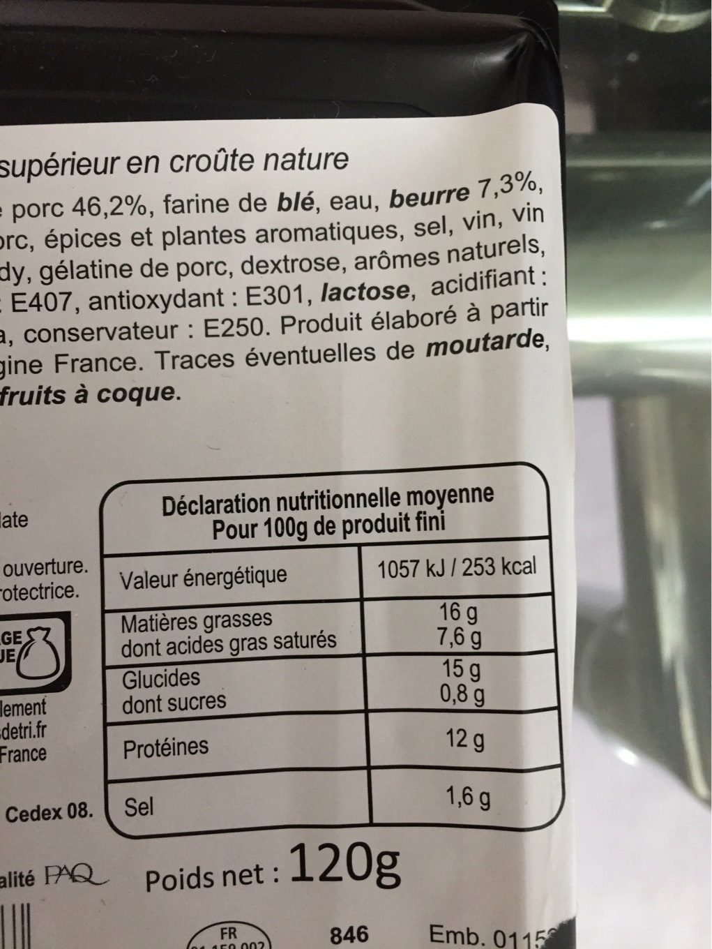 Pâté en croute - Nutrition facts - fr