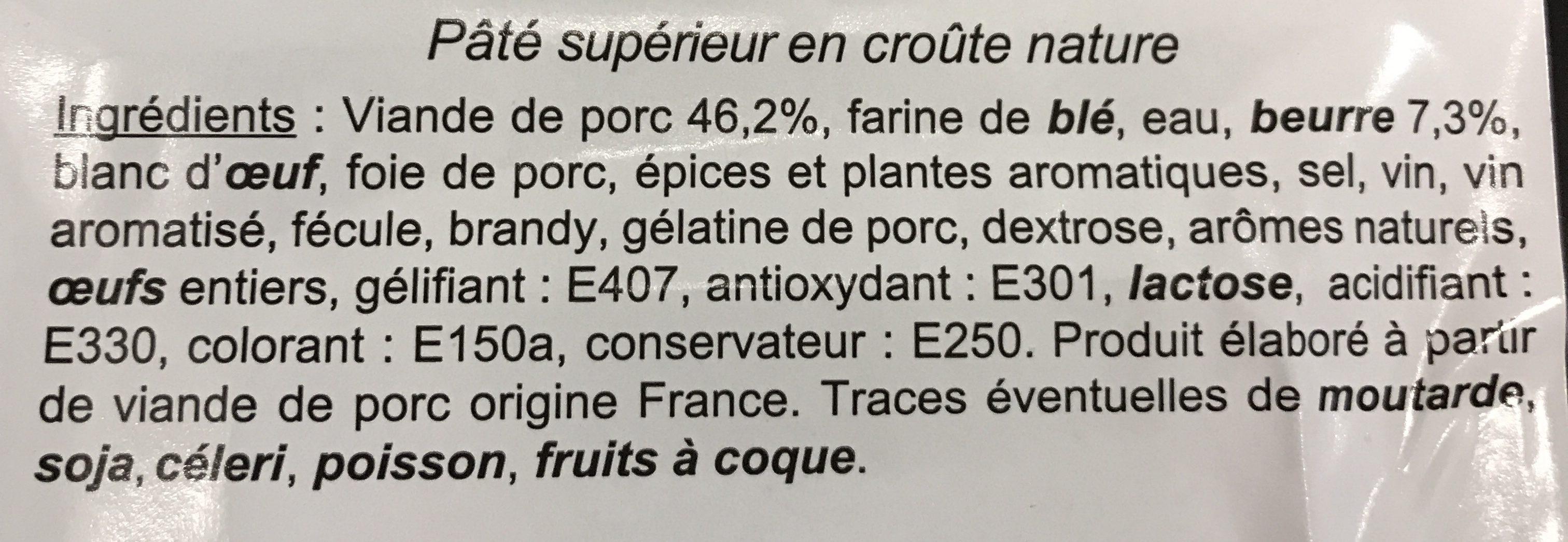Paté en croute - Ingredients - fr