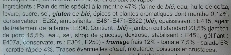 Jambon, Crudités & fromage frais - Ingrédients - fr