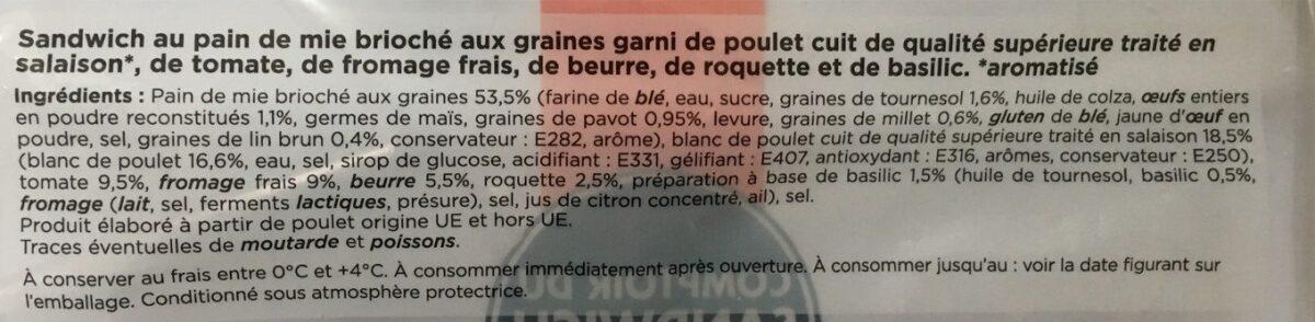 Comptoir du Sandwich Poulet Tomate Basilic - Ingrediënten - fr