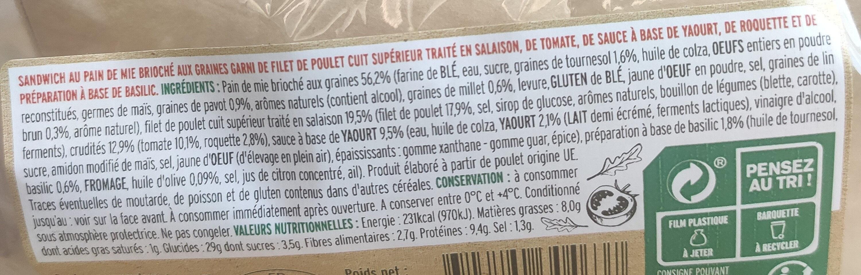 Atelier de Zoé Sandwich Poulet, Tomate & Pesto - Ingrediënten - fr