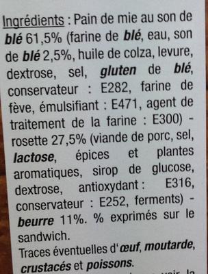 Sandwich Rosette Beurre - Ingrédients - fr