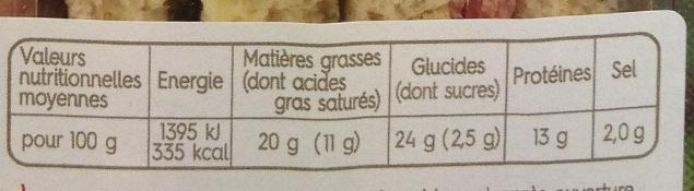 Sandwich Rosette Beurre - Informations nutritionnelles - fr