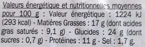 Pate en croute - Voedingswaarden - fr
