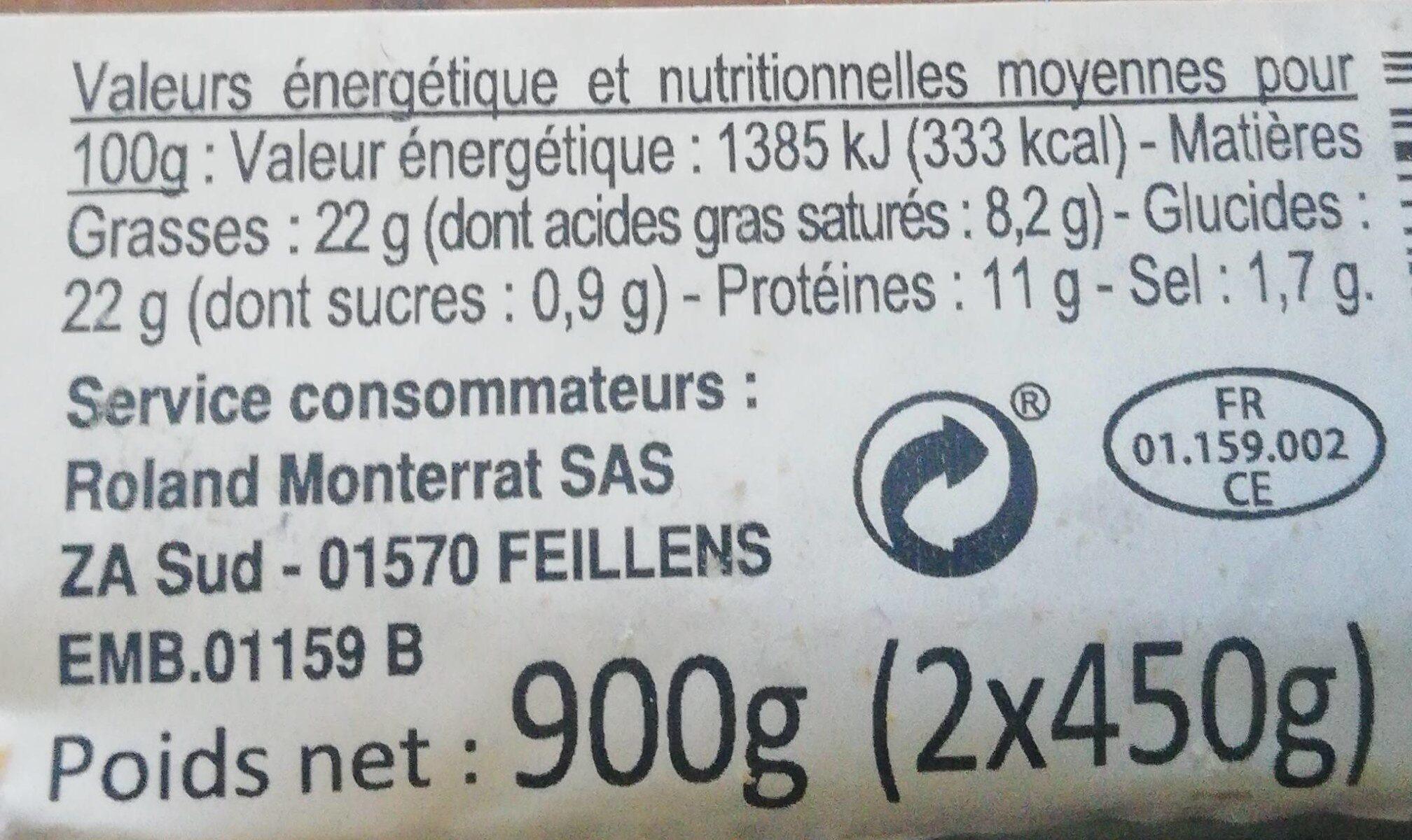 Pâté en croûte - Informations nutritionnelles - fr