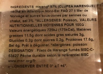 Filets de harengs fumés doux - Ingredients - fr